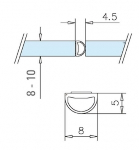 Garnitura tip A(balon) auto-adeziva cabina dus sticla 8-10 mm [1]