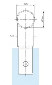 Conector 90° teava Ø25 mm compartimentare toaleta1