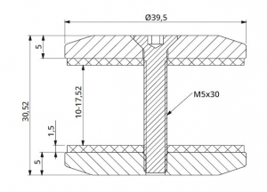 Conector rotund aliniere sticla Ø40 mm1