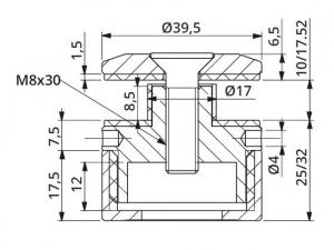 Prindere punctuala cu gat Ø40 mm reglabila 25-32 mm [1]