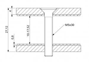 Conector dreptunghiular aliniere sticla 40x30 mm1