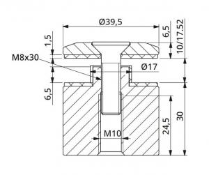 Prindere punctuala fixa cu gat Ø40x30 mm1