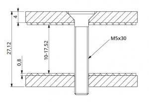 Conector patrat aliniere sticla 40x40 mm1
