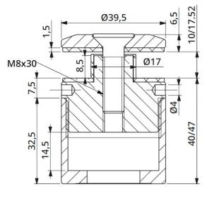 Prindere punctuala cu gat Ø40 mm reglabila 40-47 mm [1]