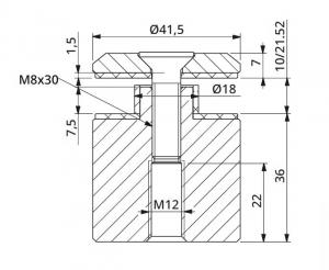 Prindere punctuala fixa cu gat Ø42x36 mm, tija M121