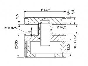 Prindere punctuala cu gat Ø45 mm reglabila 25-35 mm1