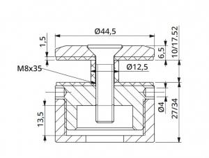 Prindere punctuala cu gat Ø45 mm reglabila 27-34 mm1