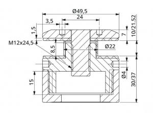 Prindere punctuala cu gat Ø50 mm reglabila 30-37 mm1