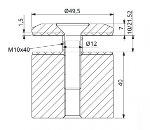 Prindere punctuala fixa fara gat Ø50x40 mm1