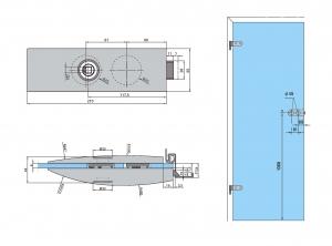 Set Dorma Arcos Studio broasca fara incuiere + 2 balamale usa sticla 8 mm3