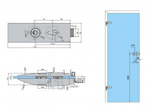 Set Dorma Arcos Studio broasca pentru cilindru + 2 balamale usa sticla 8 mm1