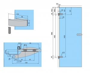 Set Dorma Arcos Studio broasca pentru cilindru + 2 balamale usa sticla 8 mm2