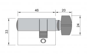 Cilindru baie broasca usa sticla 8-10 mm2