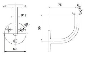 Suport perete 75x50 mm mana curenta rotunda Ø42,4 mm1