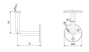 Suport perete 72x50 mm mana curenta rotunda Ø42,4 mm1