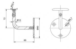 Suport perete 60x72 mm reglabil mana curenta rotunda Ø42,4 mm1