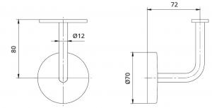 Suport perete 72x80 mm mana curenta patrata 40x40 mm1
