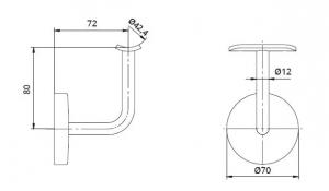 Suport perete 72x80 mm mana curenta rotunda Ø42,4 mm1