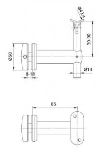 Suport sticla 8-18 mm mana curenta rotunda Ø42,4 mm [1]