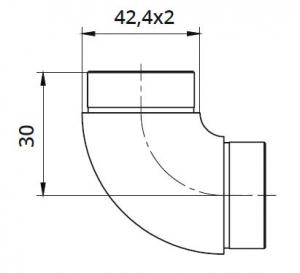 Imbinare fixa 90° mana curenta rotunda Ø42,4 mm1