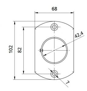 Flansa ovala fixare perete mana curenta rotunda Ø42,4 mm1