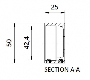 Inel fixare perete mana curenta rotunda Ø42,4 mm1