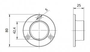 Flansa rotunda fixare perete mana curenta rotunda Ø42,4 mm1