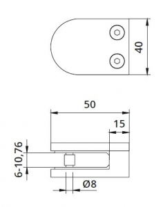 Clema MOD 20 fixare pe drept pentru montant balustrada sticla 6-10,76 mm [1]