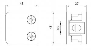 Clema MOD 21 fixare pe drept pentru montant balustrada sticla 6-10,76 mm1