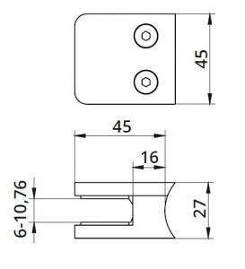 Clema MOD 21 fixare pe rotund pentru montant balustrada sticla 6-10,76 mm [1]