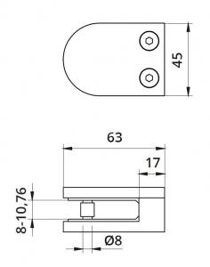 Clema MOD 22 fixare pe drept pentru montant balustrada sticla 8-10,76 mm1
