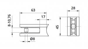 Clema MOD 22 fixare pe rotund pentru montant balustrada sticla 8-10,76 mm1