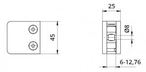 Clema MOD 230P fixare pe drept pentru montant balustrada sticla 6,76-10,761