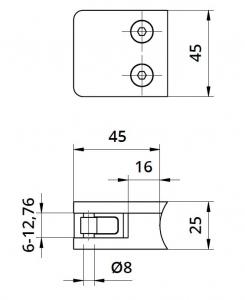Clema MOD 230P fixare pe rotund pentru montant balustrada sticla 6,76-10,76 mm1
