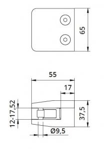 Clema MOD 24 fixare pe drept pentru montant balustrada sticla 12-17,52 mm1