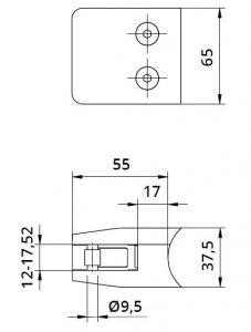 Clema MOD 24 fixare pe rotund pentru montant balustrada sticla 12-17,52 mm1