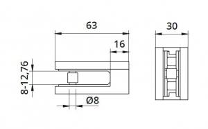 Clema MOD 25 fixare pe drept pentru montant balustrada sticla 8-12,76 mm1