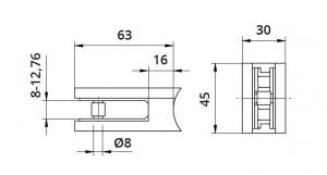 Clema MOD 25 fixare pe rotund pentru montant balustrada sticla 8-12,76 mm1