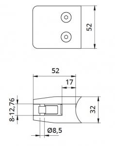 Clema MOD 26 fixare pe rotund pentru montant balustrada sticla 8-12,76 mm1