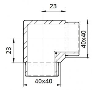 Imbinare 90° mana curenta patrata 40x40 mm1