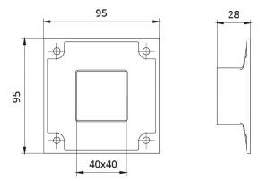 Flansa fixare perete mana curenta patrata 40x40 mm1