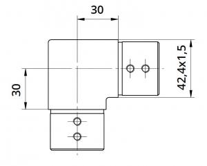 Imbinare orizontala 90° mana curenta profilata Ø42,4 mm1