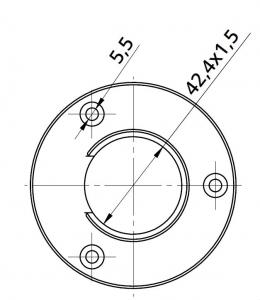 Conector perete mana curenta profilata Ø42,4 mm [1]