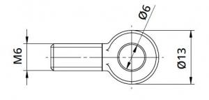 Conector Ø6/13xM6 mm piesa capat fixare cablu pentru montant balustrada1