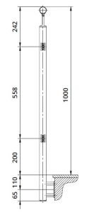 Montant intermediar rotund echipat pentru sticla fixare pe laterala1