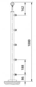 Montant rotund echipat pentru cablu fixare pe pardoseala1