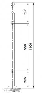 Montant intermediar rotund echipat pentru sticla fixare pe treapta scara1