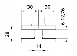 Clema dubla 60x60x28 mm fixare pe teava rotunda/rectangulara [1]