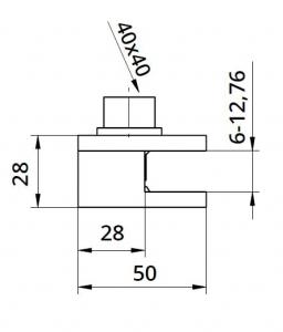Clema simpla 50x60x28 mm fixare pe teava rotunda/rectangulara [1]