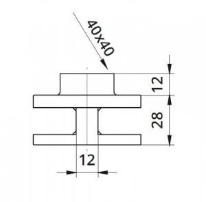 Clema dubla Ø60x28 mm fixare pe teava rectangulara1